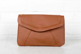 Brown Clutch with golden zipper